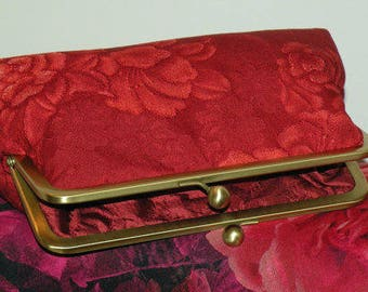 Silk Kimono Fabric Clutch/Purse/bag..Bridal/Wedding Party Gift..Roses/Peony/Vermillion Red..Reddish Brown