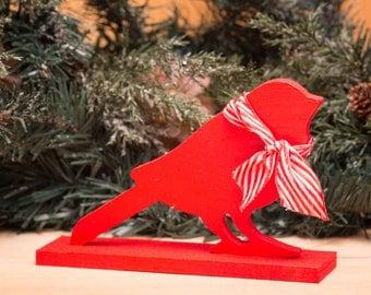 Red Bird Holiday Decoration Candy Stripe Ribbon Handpainted Wood Woodland Christmas Decoration