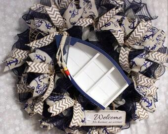 Blue/Silver Deco Mesh Coastal theme,Nautical theme,Beach theme wreath