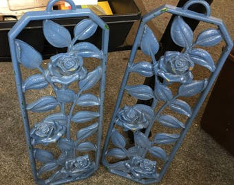 Cast Aluminum Roses  Blue Painted