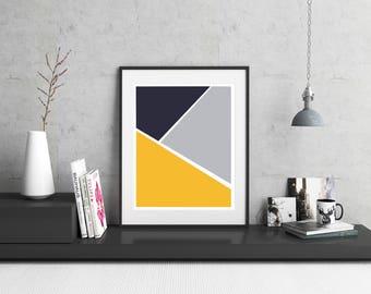 Mustard Yellow Geometric Print / Navy Print / Office Decor / Home Decor /  Prints And