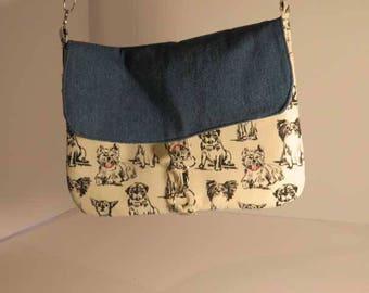 messenger bag, cross body bag, dog themed bag, denim bag, crossbody foldover messenger bag