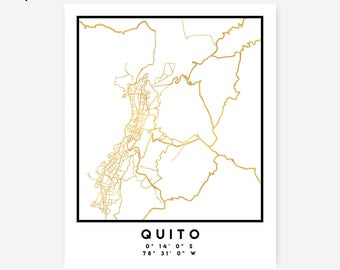 Quito Map Coordinates Print - Ecuador City Street Map Art Poster, Gold Quito Map Print, Quito Ecuador Coordinates Poster Map Print Art