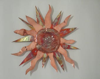 torched and polished copper sun