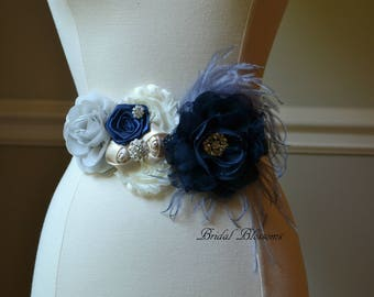 ASHTON Gray Navy Blue Ivory Cream Flower Maternity Sash | It's A Boy | Newborn Photo Prop | Baby Shower Belly Band Belt | Feathers Jewels
