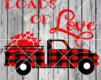 2 SVGS Loads of Love trucks plaid hearts Valentine