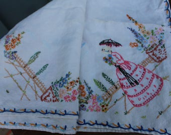 Vintage Embroidered Crinoline Lady Square Tablecloth - 32 x 32 Inches