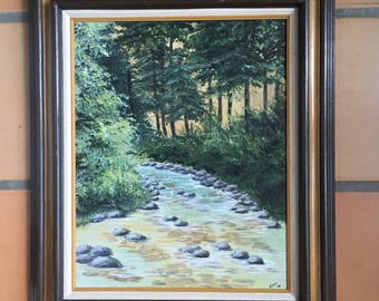 Original Oil Painting 16 x 20 Signed and Dated 1979 Framed, Forest Mountain Evergreen Trees and Stream with Stones, Vintage Oil Painting