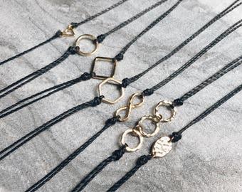 Gold Connector Chokers, Minimalist Necklace, Black Choker, Choker