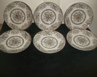 English Ironstone Tableware Brown Kew Garden Saucers Excellent!