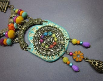 long necklace, bollywood, multicolored, embroidery, pearls, beads, India