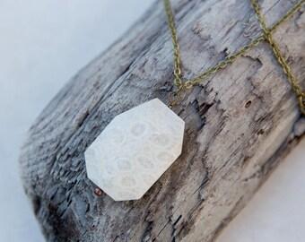 Stone Necklace, Fossil Pendant, Boho Necklace, Raw Stone Necklace, Minimalist Jewelry, Rustic Necklace, Layering Necklace, Long Necklace