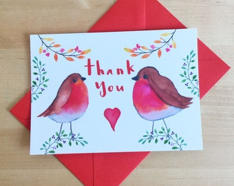 Robin Thank You Cards, Christmas Thank You Cards, Kids Thank You Cards, Fill Blanks Thank You Cards, Easy Kids Thank You Cards, Robin Cards