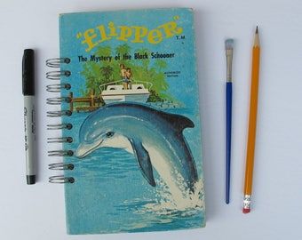 Flipper vintage book journal, dolphin journal, dolphin gift