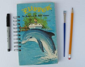 Flipper vintage book journal, dolphin journal, dolphin gift