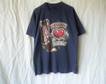 90s Nashville Tennessee Country Music Cowboy Boots T-Shirt