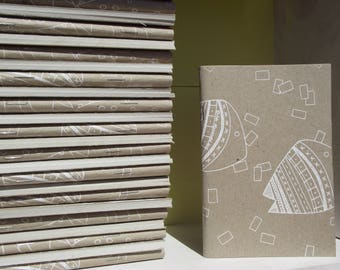 PLM - screen printing - cardboard and recycled paper notebook - handmade - SHIFUMY fish design - coloring - zen