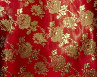 Red Metalllic Jaquard Brocade Gold Flower Print