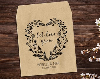 Heart Wreath, Seed Packet Favors, Seed Packet, Rustic Wedding, Seed Wedding Favor, Heart Favor, Wildflower Seeds, Personalized Favors x 25