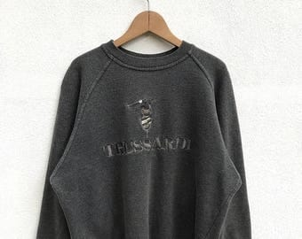 20% OFF Vintage Trussardi Embroidery Big Logo Sweatshirt/Trussardi Sweater/Trussardi Crewneck/Trussardi Spell Out/Hip Hop