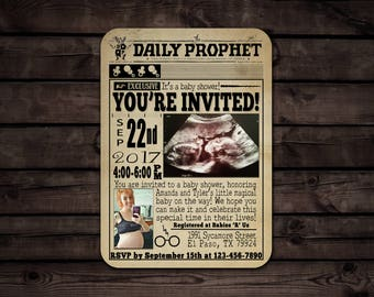 Custom Harry Potter Inspired Baby Shower Invitation //The Daily Prophet