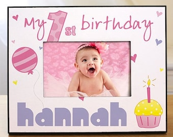 Baby Girl's First Birthday Frame, Girl's First Birthday Frame, Personalized 1st Birthday Frame