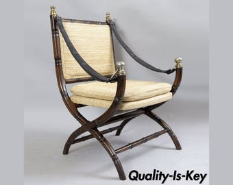 Drexel Campaign Style Faux Bamboo Chair Safari Sling Arm Vintage Hollywood Regency