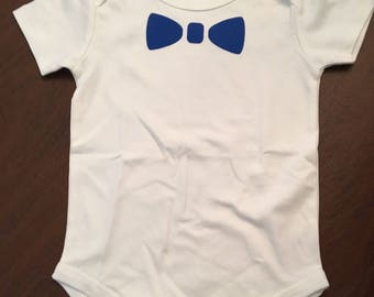 Bow Tie Organic Cotton Baby Clothes Custom Screen Printed Onesie 12-24mo