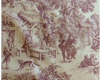 Pink French Country Style Vintage Toile de Jouy Fabric by House and Home