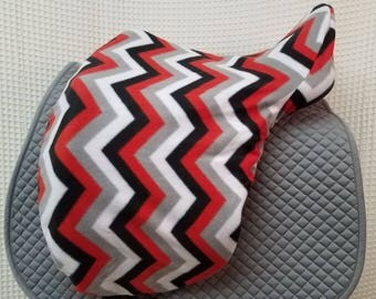 Dressage or Jump/AP saddle cover-- Red/Black/Grey/White Chevron