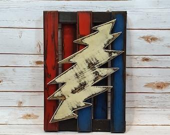 U.S. Blues - Lightening Bolt Pallet Art - Grateful Dead Wall Art - Handmade Décor - Red, White and Blue