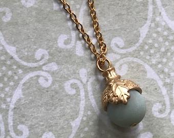 Tiny Acorn Necklace // Amazonite