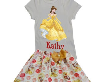 Girl outfit Girl Belle birthday outfit Girl name age Belle outfit, baby outfit Girl Beauty and the Beast outfit Girl clothing