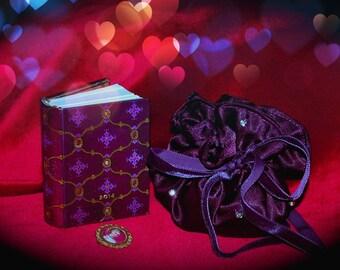 Plum satin pouch and its diamond rings or jewelry Swarovski Crystal rhinestones