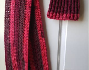 Crocheted Scarf/Knitted Hat/Maroon Scarf Set/Thick Scarf Set/Women's Scarf/Birthday Gift/Teen's Scarf/Winter Scarf/Handmade Scarf/Reversible