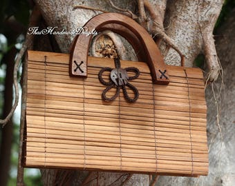 Natural Brown  Clutch Bag Purse Hand Bag Natural Fair Trade Handmade Bamboo Thai Asian Elephant Button Cute Girls Coconut mango