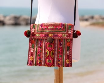 Hand Embroidered Women's Cross body Bag Hmong Hill Tribe Vintage Fabric Womens Messenger Bag Pom Poms Women's Shoulder Bag Bohemian Bag