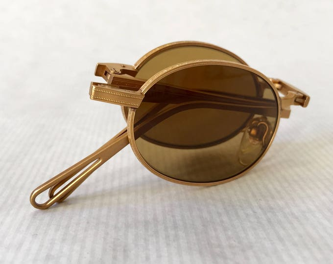 Matsuda 10609 18K Gold Folding Vintage Sunglasses New Old Stock Made in Japan