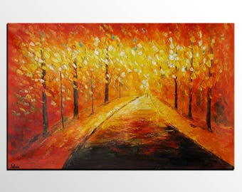 Landscape Oil Painting, Modern Abstract Art, Autumn Tree Painting, Original Painting, Canvas Painting, Large Painting, Wall Art, Canvas Art