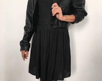 Yves Saint Laurent Vintage Leather Jacket 80's black paris