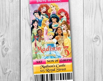 Princess Ticket Invitation - Disney Princess Birthday Party Invitation - Disney Princess Printables