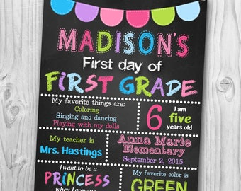 First Day of School Sign - Back To School Signs - First Day of School Chalkboard Printable - First day of Kindergarten sign