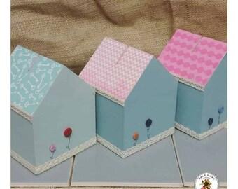 Little house shaped money box - Wooden money box - Coloured little house