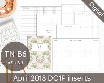 APRIL 2018 Daily - TN B6 Travelers Notebook Insert, Foxy Fix No. 5, Printable Inserts, Bullet Journal, DO1P, Dated, PDF Instant Download