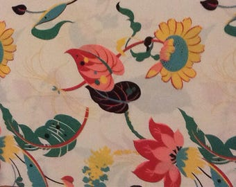 Vintage, Whimsical, Tropical, Floral, Satin Fabric, Fuchia, Caladiums, Ferns, Sunflower, peach, pink, turquoise and black