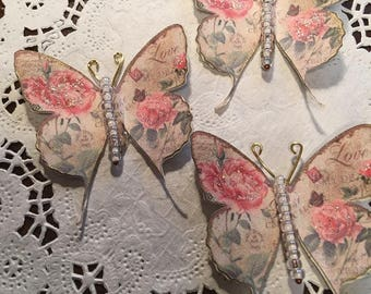 Vintage Love Rose White Glass Bodied Butterflies DarlingArtByValeri Set for Scrapbooking Embellishment Mini Albums Cards Wedding Gifts