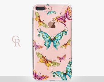 Butterfly iPhone 8 Plus Case - Clear Case - For iPhone 8 - iPhone X - iPhone 7 Plus - iPhone 6 - iPhone 6S - iPhone SE Transparent - Samsung
