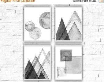 SALE Abstract Poster, Circle Printable, Square Abstract Print, Mountains Poster, Gem Prints, Set of 4 Posters, Scandi Design