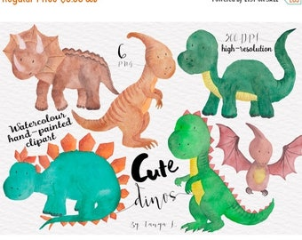 SALE Dinosaur Clipart, Watercolour Clipart, Cute Clipart, Watercolour Dinosaur Clip Art, Commercial Use, Hand-painted Clipart