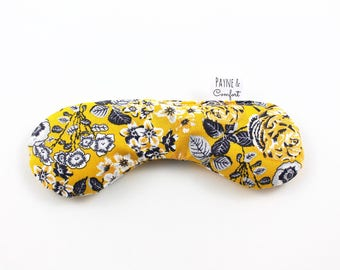 Hot Cold Eye Pillow   Socket Sack   Microwave Flaxseed Eye Pad   Reusable Eye Mask   Eucalyptus Eye Pillow   Yellow Florals Gifts for Her